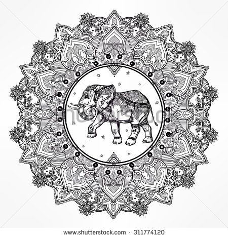 Hand drawn ornate paisley mandala with elephant inside. Ideal ethnic background, tattoo art, yoga, African, Indian,Thai, spirituality, boho design. Use for print, posters, t-shirts and other textiles.