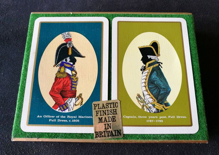 Vintage Double Deck Of Waddingtons Playing Cards-Officer Of The Royal Marines 1805 Full Dress-Captain Three Years Post Full Dress 1787-1795 by OnyxCollectables on Etsy