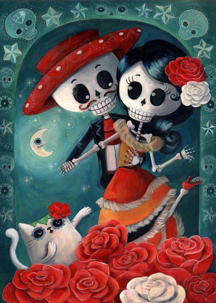 el dia de los muertos skeleton lovers, by monika suska