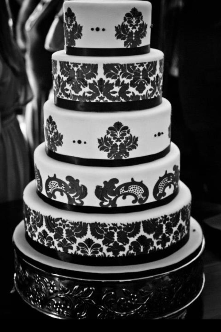 wedding cake black and white damask wedding cake stencil damask our wedding pinterest. Black Bedroom Furniture Sets. Home Design Ideas