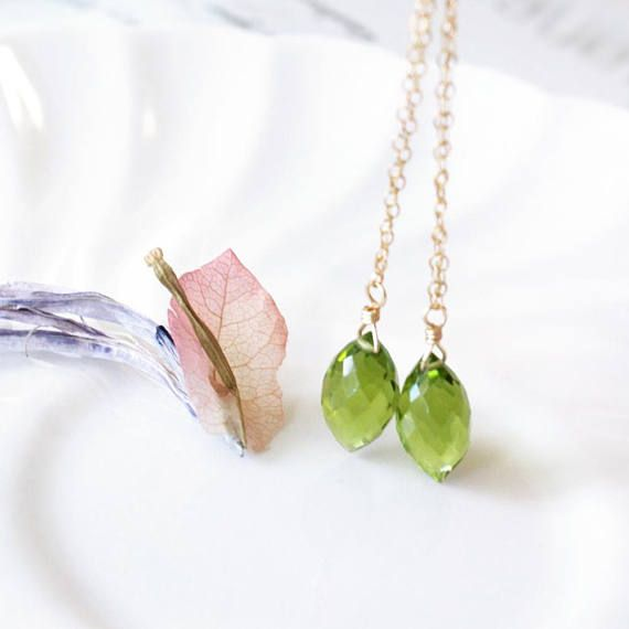 Dainty Peridot Green Quartz Briolette Dangle Drop Earrings in