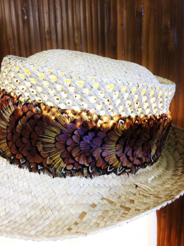Hawaiian pheasant feather hat band lei hulu made in maui ...