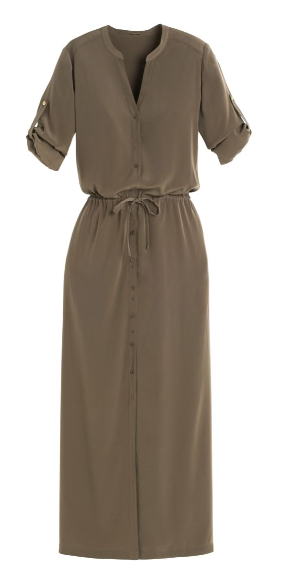 A maxi dress gets a chic update with utility styling. The button-front design, roll-tab sleeves and drawstring waist make it a must-have.