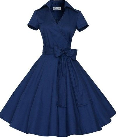 Blue Short Sleeve Bow Shirtwaist Dress