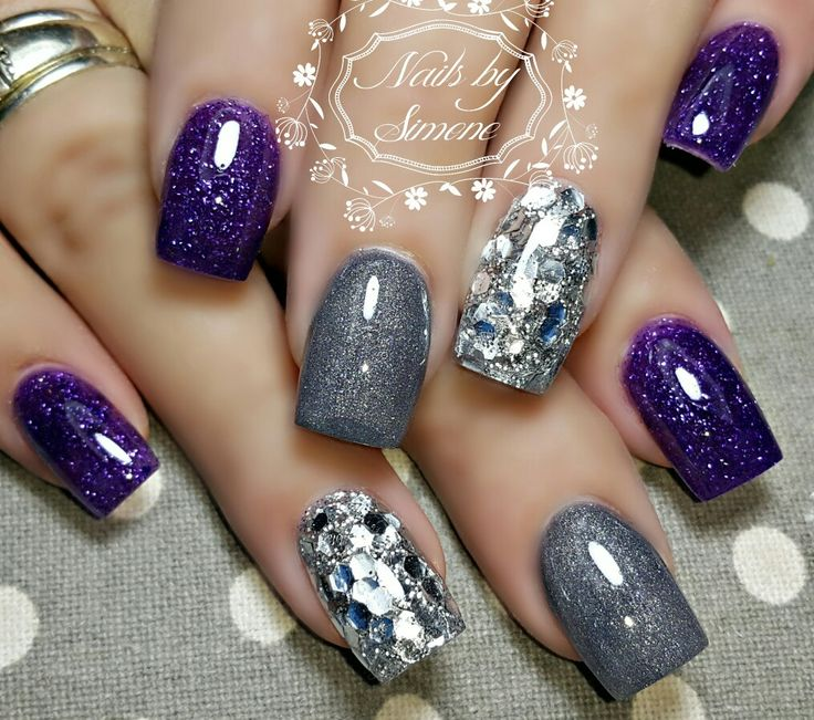 Grey silver glitter dark purple nails