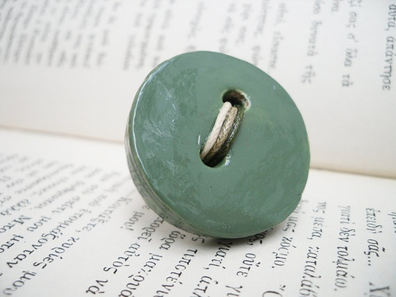 medium olive green adjustable button ring handmade with by Joogr, €17.00