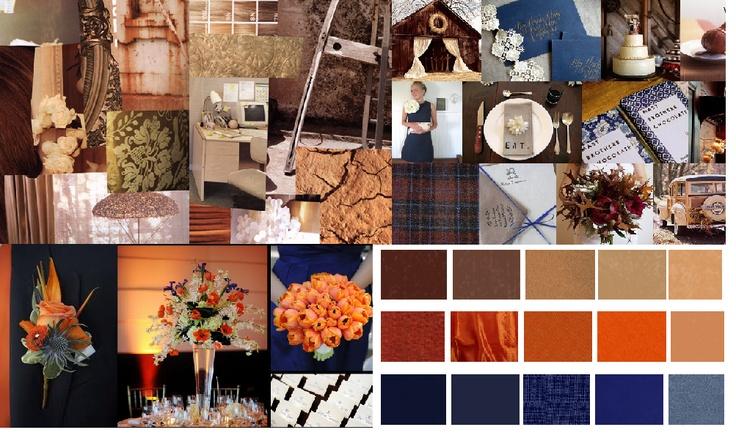 Navy Burnt Orange Earth Tone Wedding Colors