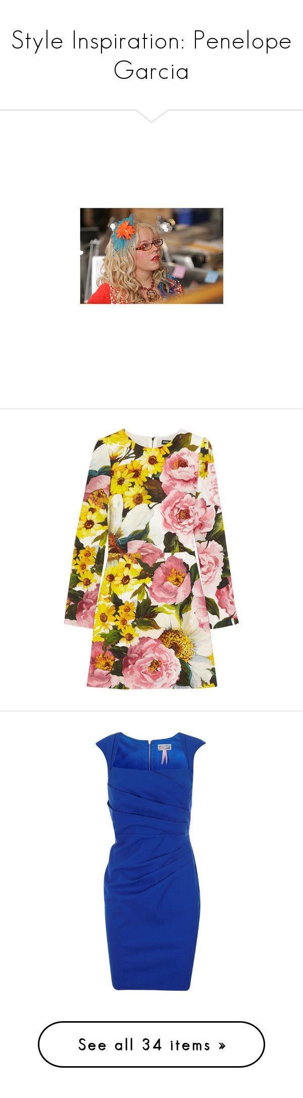 """""""Style Inspiration: Penelope Garcia"""" by dailymelody ❤ liked on Polyvore featuring criminal minds, people, tv, dresses, vestidos, dolce & gabbana, flower print dresses, floral mini dress, multi colored dress and short floral dresses"""