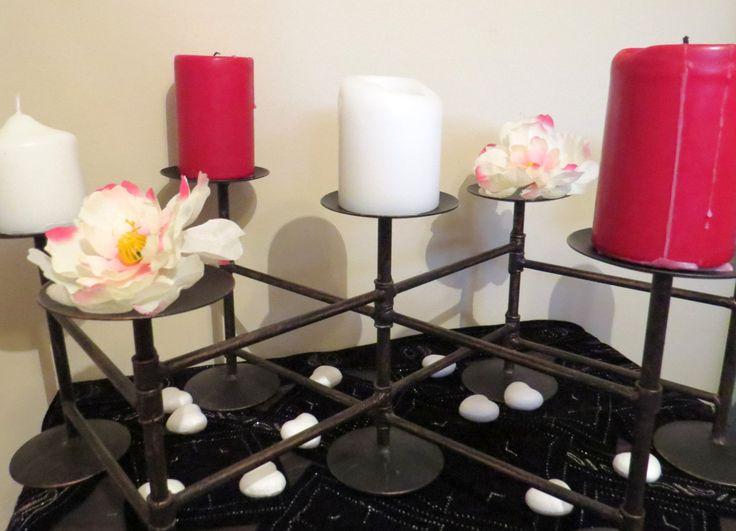 Extendable candelabra, black candelabra, large candelabra, vintage candelabra, pipe candle holder, unique candelabra, christmas gift,wedding by ChippedPaints on Etsy