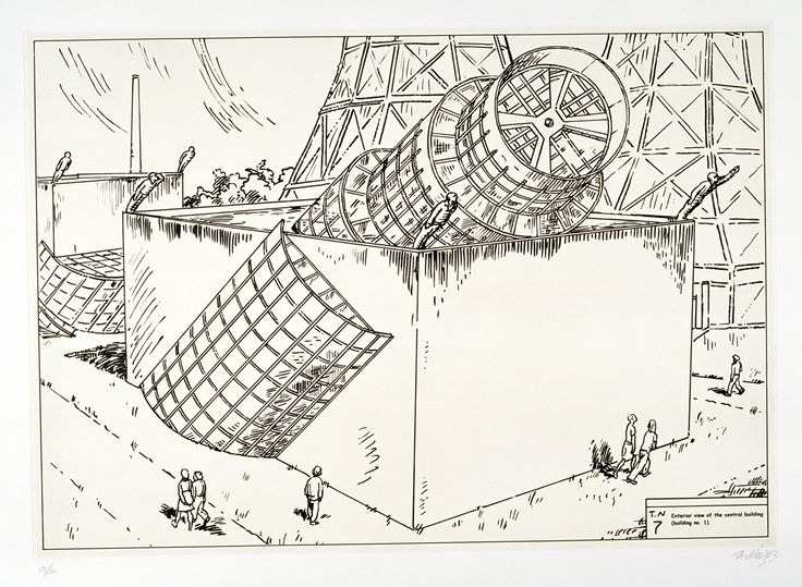 Ilya & Emilia Kabakov – Center of Cosmic Energy. Exterior of the central building (building No. 1). No. 7 –Mike Karstens Graphics Editions, 2003 – coll. Multimedia Art Museum, Moscow
