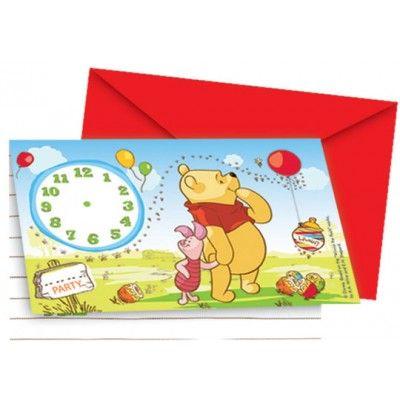 8 Winnie the Pooh uitnodigingen voor een kinderfeestje.