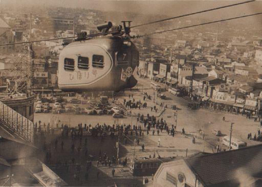 the aerial railway(cableway?)in Sibuya!,Tokyo 1951 @nifty:デイリーポータルZ:渋谷駅屋上に昔、ロープウェイが通っていた