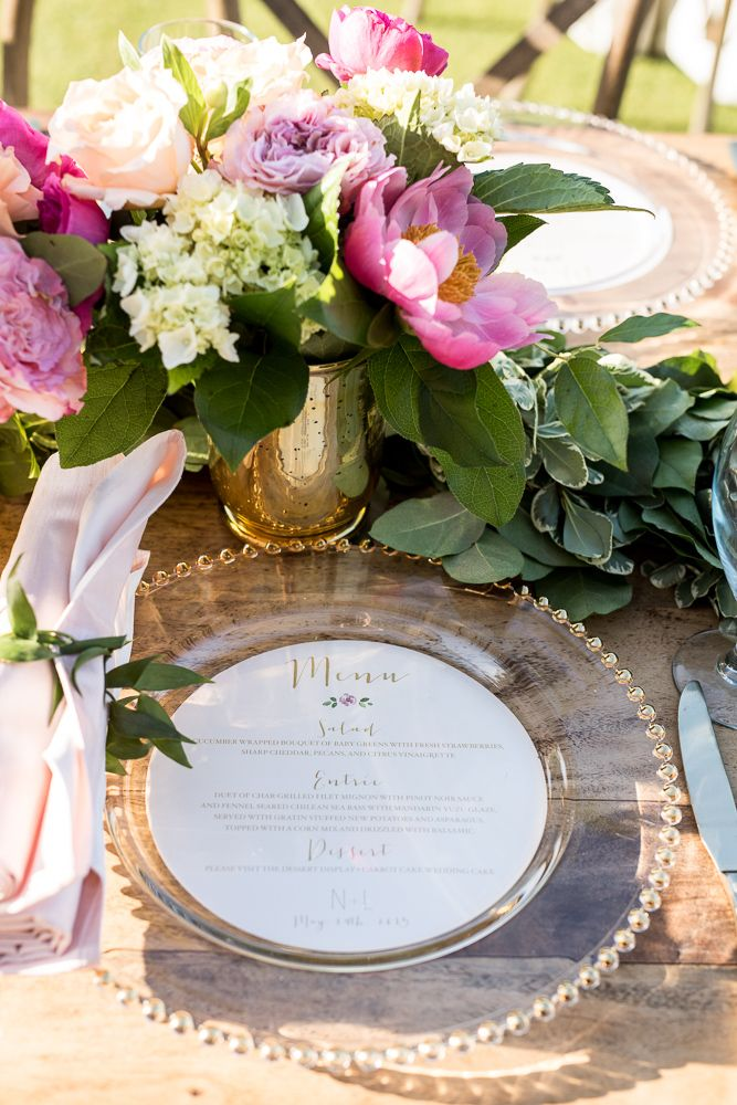 Perfect for outdoor weddings - use a clear glass charger plates and rest the round menu card underneath (looks beautiful and won't blow away!) [Kelli Boyd Photography] [Berkeley Hall Club Weddings]