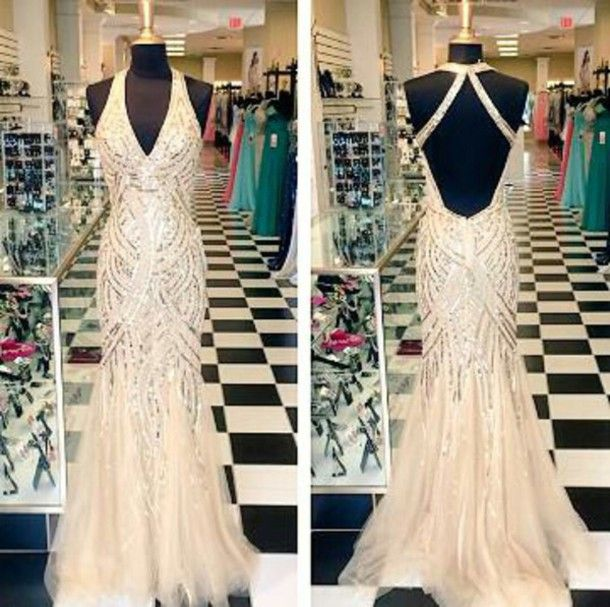 2015 Custom Made Glitter Prom Dress,Halter Prom Dress,V-Neck Prom Dress, Long Prom Dresses, Floor-Le on Luulla
