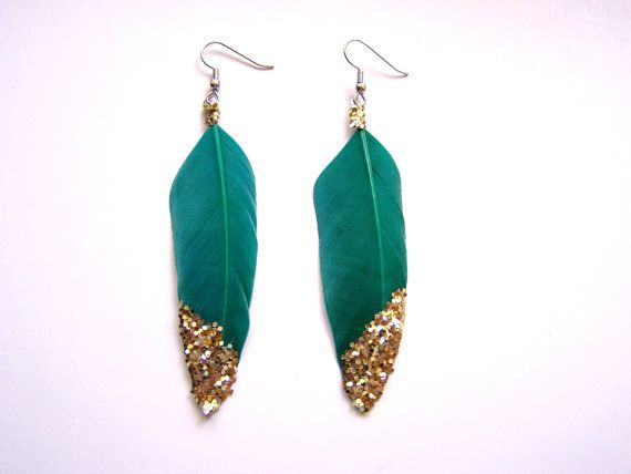 Feather Earrings with Gold Glitter