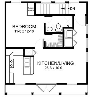 Garage Apartment Floor Plan...flip the walk in close and bath spaces so you don't have to go through the bedroom to use the bath room.