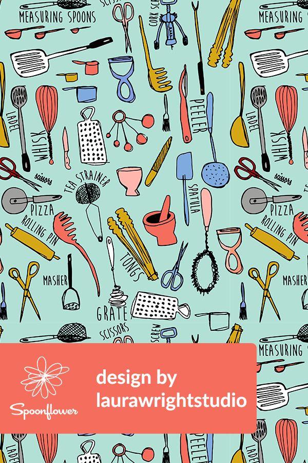 Kitchen Utensils Illustration By Laurawrightstudio Hand Drawn