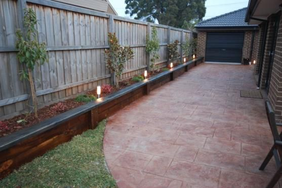 I like the side boxes/raised garden bed along the fence that can double as a casual seat to watch a game or chat whilst having a bbq but I would prefer them in a stone appearance.