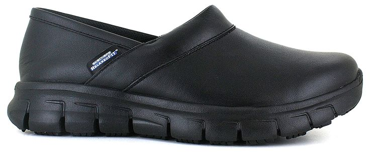 This Work Shoe Features:<br/>smooth leather upper, stitching accents, padded instep and heel collar trim, Relaxed Fit® design for a roomy comfortable fit, Memory Foam cushioned removable comfort insole, flexible nitrile rubber slip-resistant traction outsole