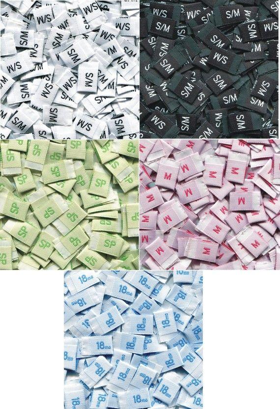 50 Premium Woven Label size tag Combo 2T, 3T, 4T, 5, 6, 7, 0-3 m, 0-6 m, 3-6 m, 6-9 m, 6-12 m, xxs, xs, s, m, L,and More Choose ur sizes