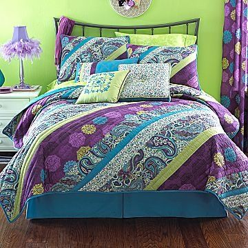 17 best images about purple and lime green bedrooms on - Green and purple comforter ...