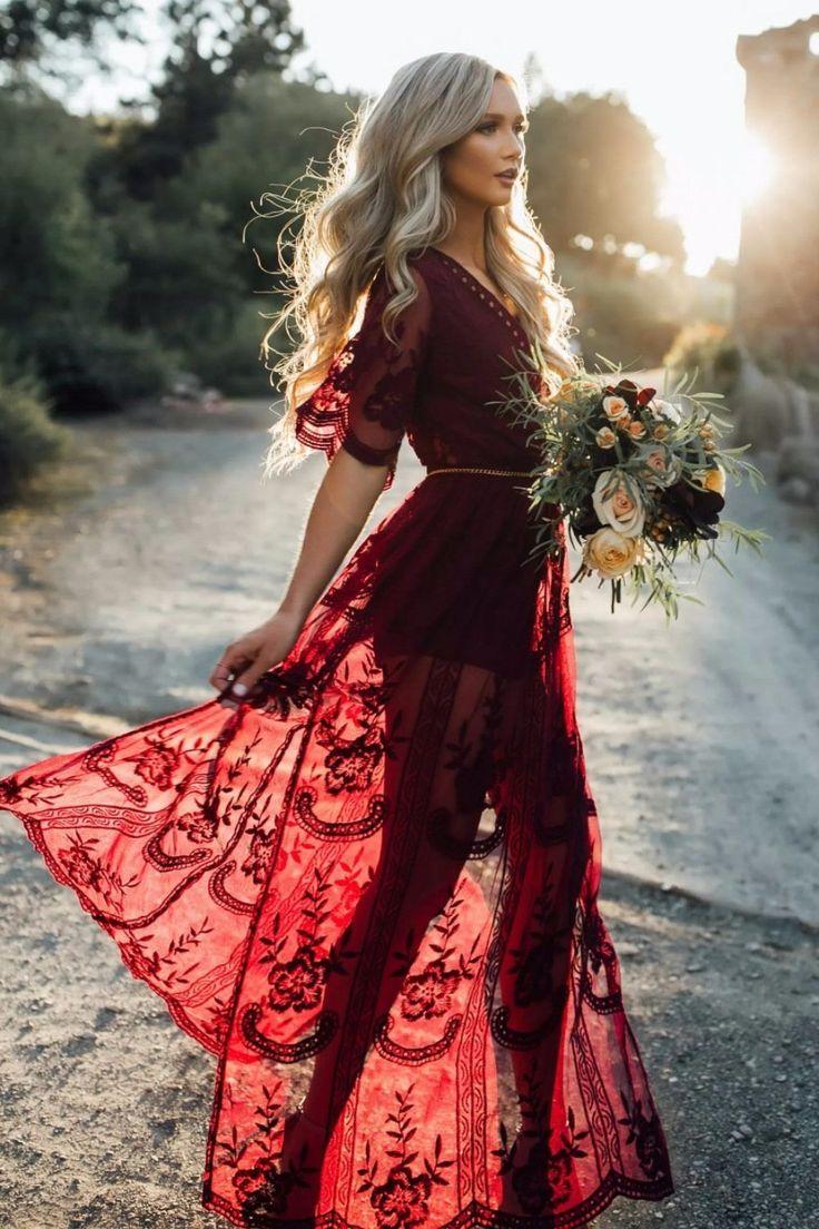 Burgundy Love Lace Dress