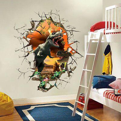 3D вид динозавра для детской комнаты декор пвх настенная наклейка съемные настенные наклейки фрески