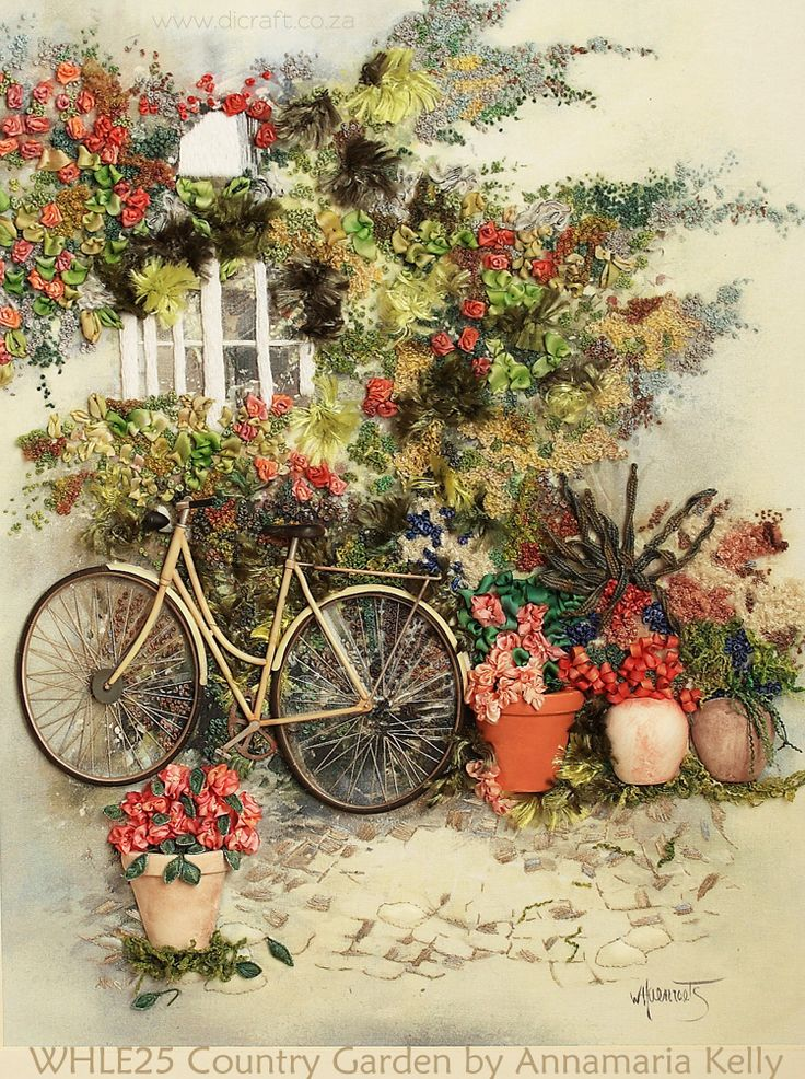 Silk ribbon embroidery: Country Garden by Annamaria Kelly from Johannesburg…