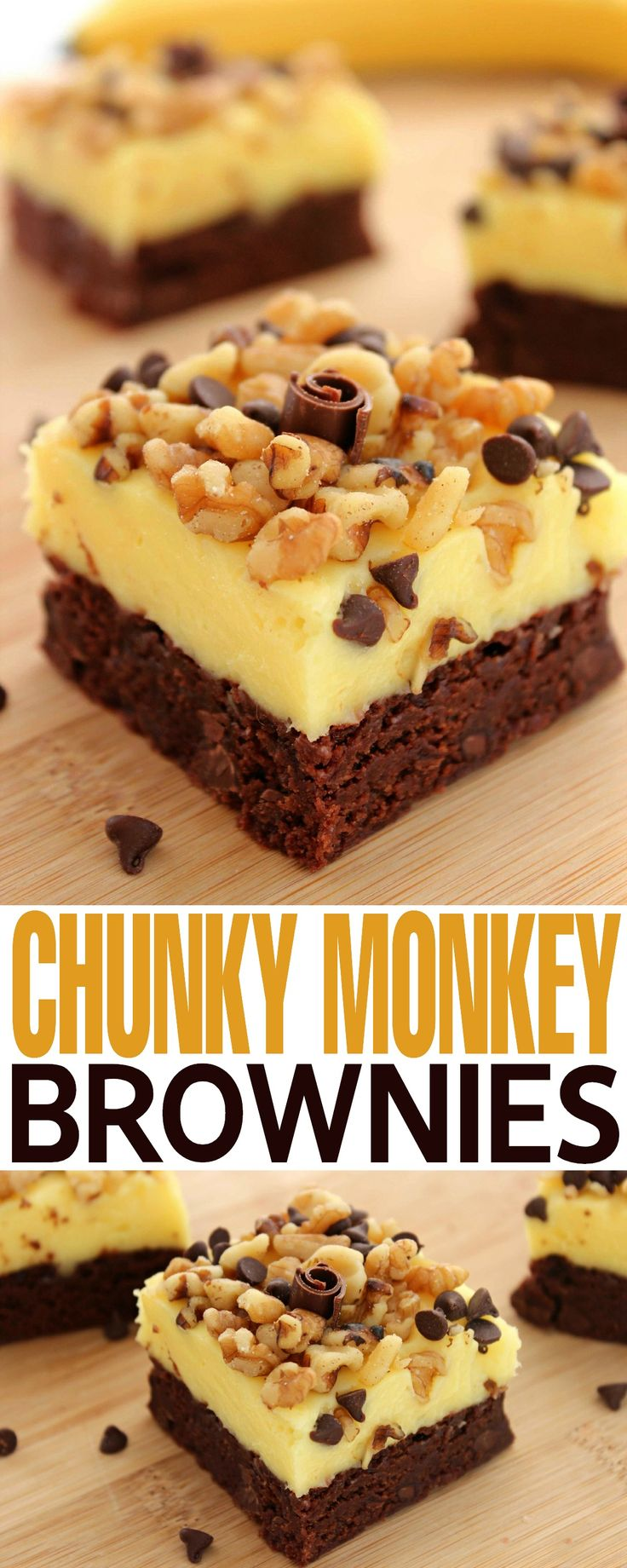 These Chunky Monkey Brownies are a perfect treat with chocolate, banana and walnuts coming together for one amazing dessert!