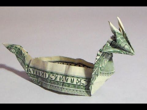 dollar origami dragon boat (instruction), money origami, $1 bill origami...