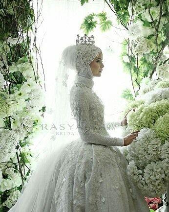 """Florence""  #whitedress  #ballgown #weddinggown #weddinghijab…"