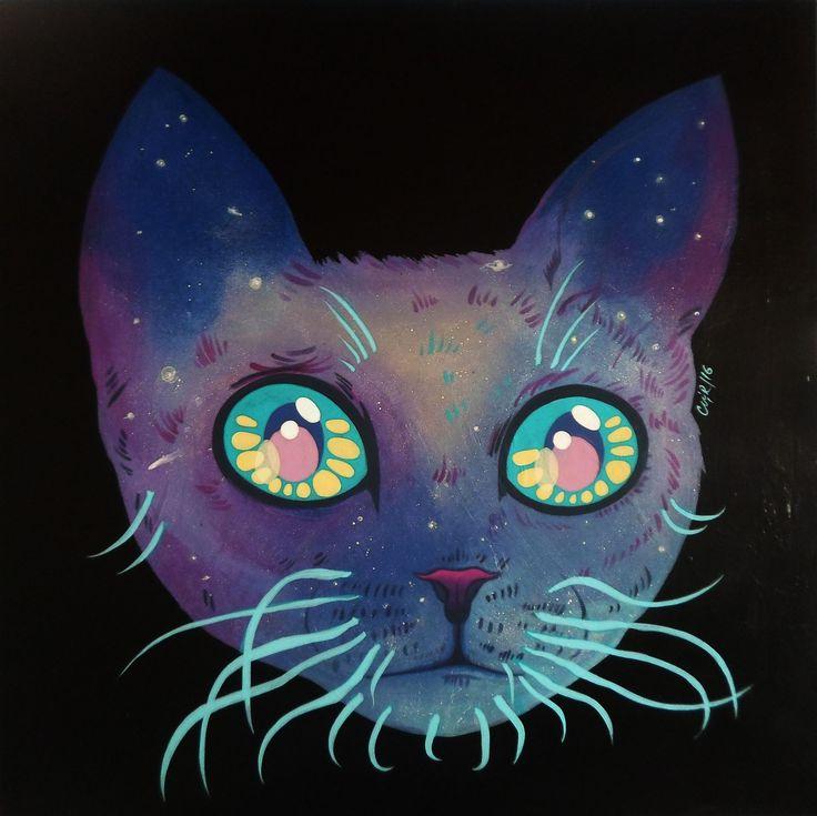 """""""Gato Cósmico"""" Acrílico sobre Madera. 80x80 Cms.  2016."""