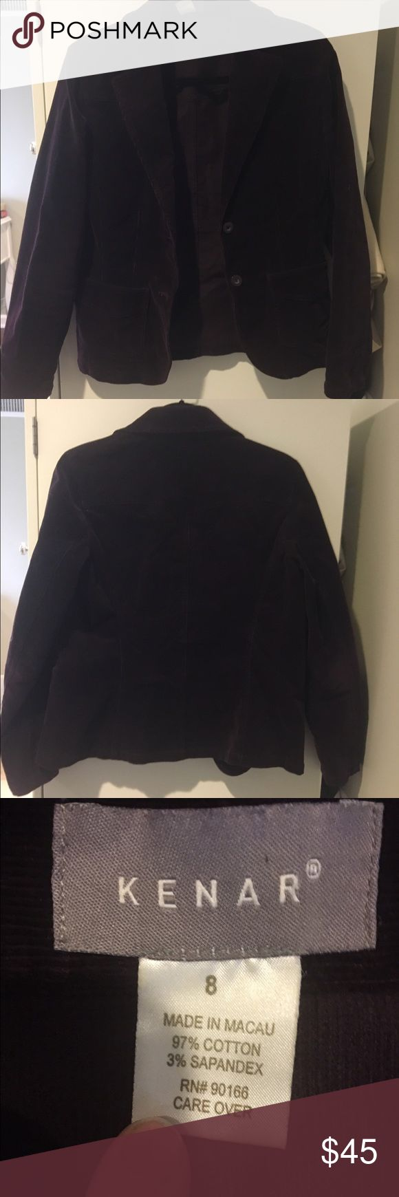 Kenar Corduroy Blazer Deep purple corduroy Blazer with two Button front closure. Previously worn in great condition! Open to reasonable offers through feature! Kenar Jackets & Coats Blazers