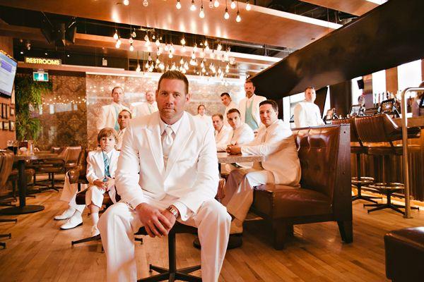 groom and groomsmen in white suites: Engagement Wedding Ideas