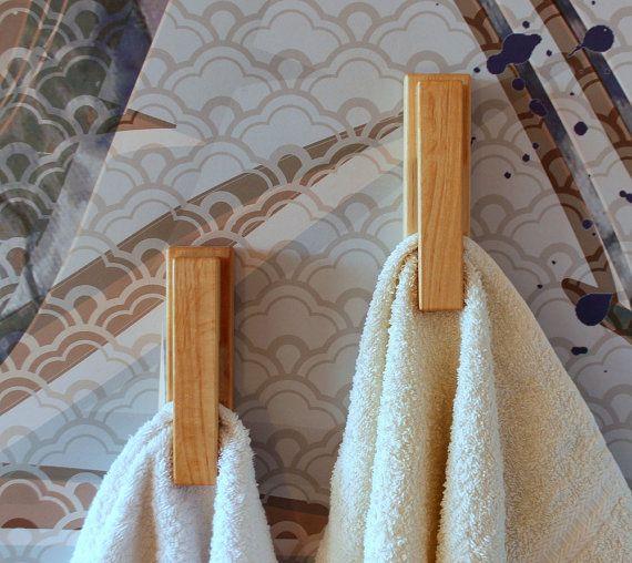 Satz von 2 Erle Handtuch Haken, Holz Handtuch Halter, moderne Wand-Haken, Wand Aufhänger, Küche Haken EXPRESS Versand