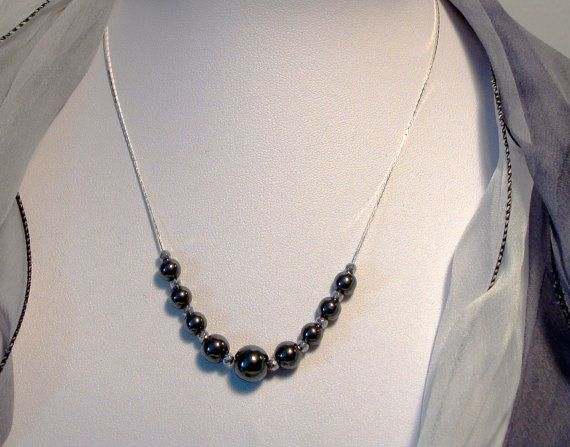 Hematite shades of grey sterling silver chain by AriadniCreations