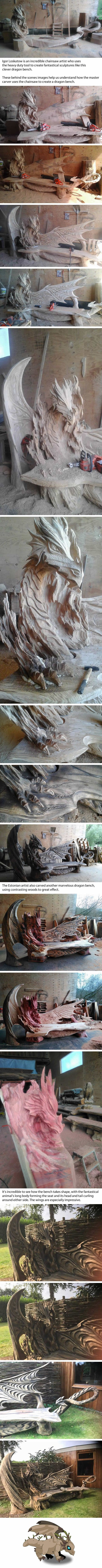 Estonian Artist Uses a Chainsaw to Carve a Fantastical Dragon Bench