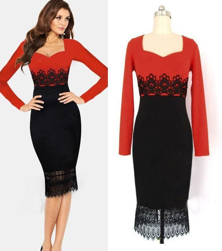 New Red Black Casual Dress Women Tunic Bodycon Ol Lace Patchwork Ladies Dress Elegant Vintage Long Sleeve Winter Dress Plus Size My 036 Elegant Cocktail Dresses Summer Cocktail Dresses From Cathywang168, $23.39| Dhgate.Com