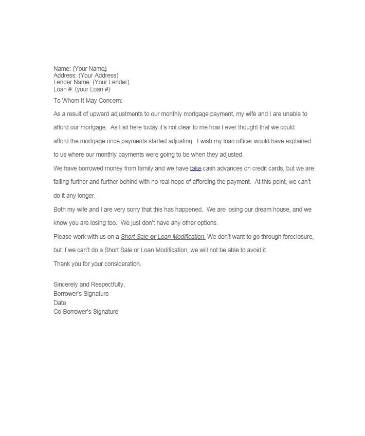 Hardship Letter Template 22 sherwrght@aol Pinterest - foreclosure specialist sample resume