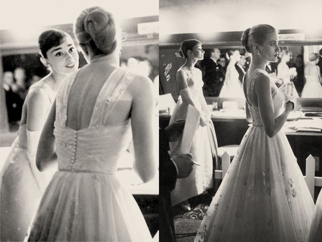 Audrey Hepburn and Grace Kelly backstage at the 28th Annual Academy Awards on March 21, 1956