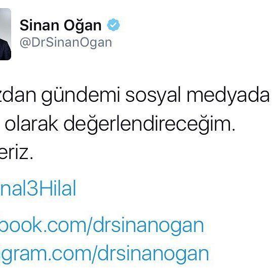 Birazdan gündemi sosyal medyada canlı olarak değerlendireceğim. Bekleriz.  @Kanal3Hilal  facebook.com/drsinanogan instagram.com/drsinanogan