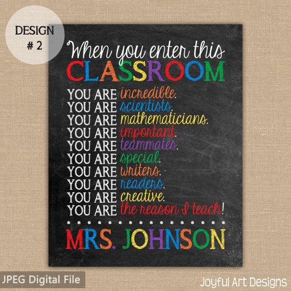 When You Enter This Classroom You Are PRINTABLE. Chalkboard Sign. Teacher Appreciation. Classroom Decor. Teacher Wall Art. Teacher Gift $11.00
