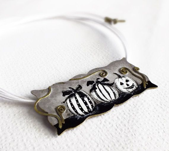 Halloween necklace Pumkin jewelry black by SeasonsDesignJewelry, $78.00
