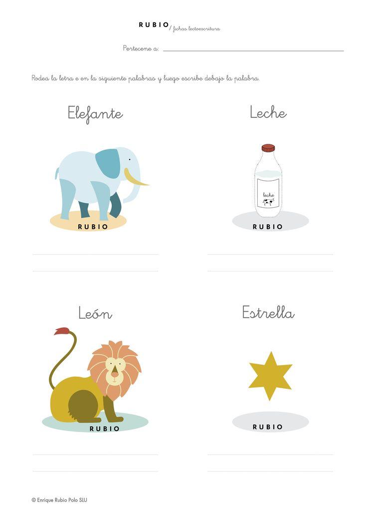 Descargable ficha de lectoescritura letra e en PDF para niños de 5 años (3.º Educación Infantil)
