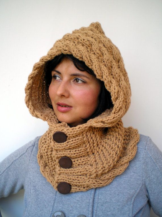 Lady Marion Honney Beige  Hood Super Soft mixed Wool Hooded Cowl Hand Knit Cabled Hat Hood NEW COLLECTION