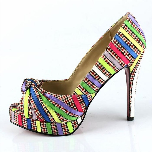 Christian Louboutin Leather Colorful Bands Pumps Colorful: Bands Pumps, Bowed Colorful, Colorful Bands, Louboutin Bowed, Satin Peep Toes, Christian Louboutin, Colorful Heels, Colorful Satin
