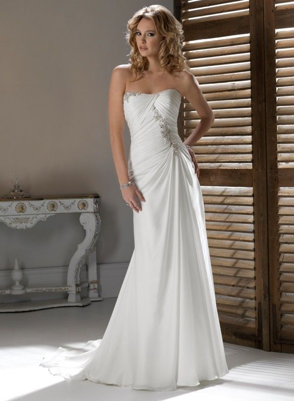 chiffon strapless wedding dresses : Chiffon Strapless Wedding Dresses