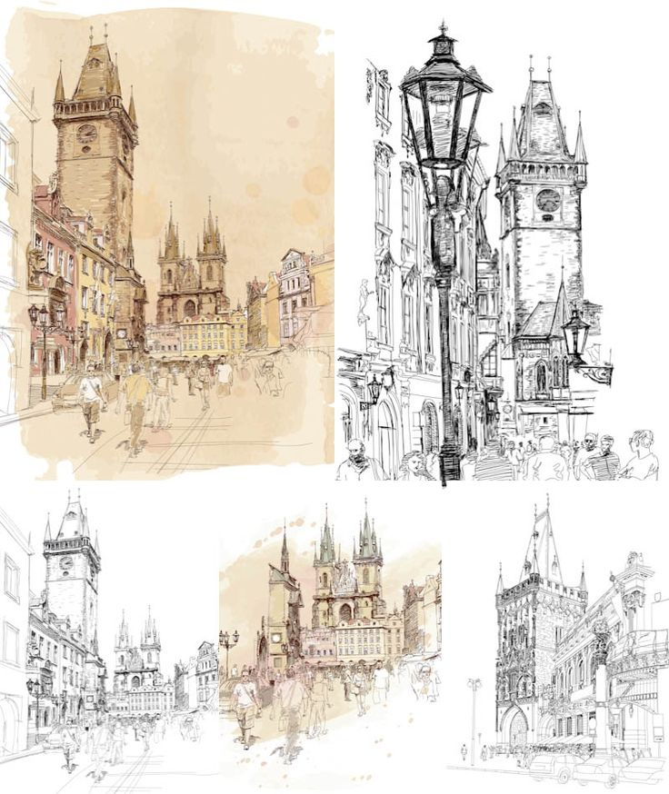 Architectural town sketches vector