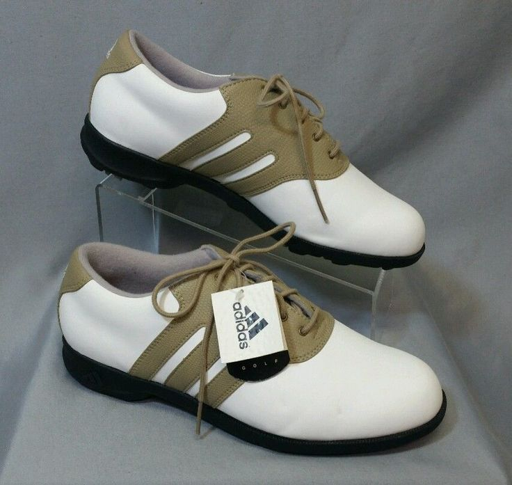 ⭐️(New) ADIDAS Mens Golf Shoes Cleats (8.5) 8 1/2 Grenside Stripe White/Tan  | eBay