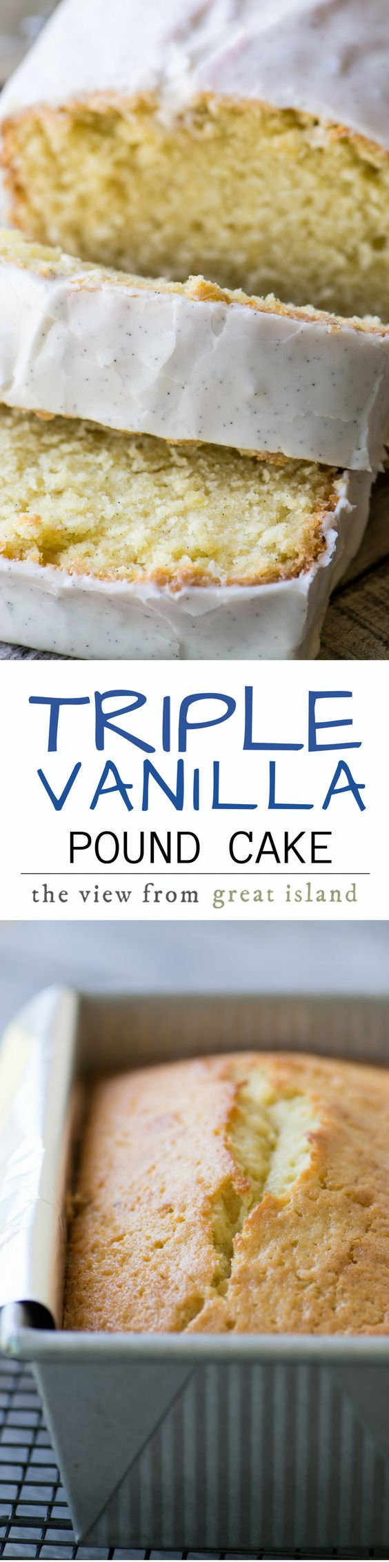 Triple Vanilla Pound Cake ~ not one, not two, but three layers of intense vanilla flavor to satisfy even the most serious vanilla fans. | coffee cake | breakfast | dessert | brunch | white cake | vanilla beans |
